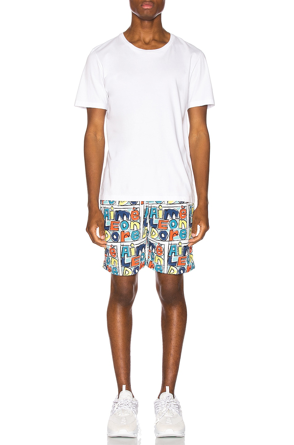 Image 4 of Aime Leon Dore Crayon Print Swim Trunks in Highlighter Yellow Combo