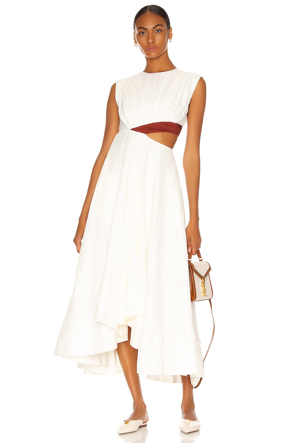 Image 1 of Aje Reflection Cut Out Dress in Ivory & Mahogany