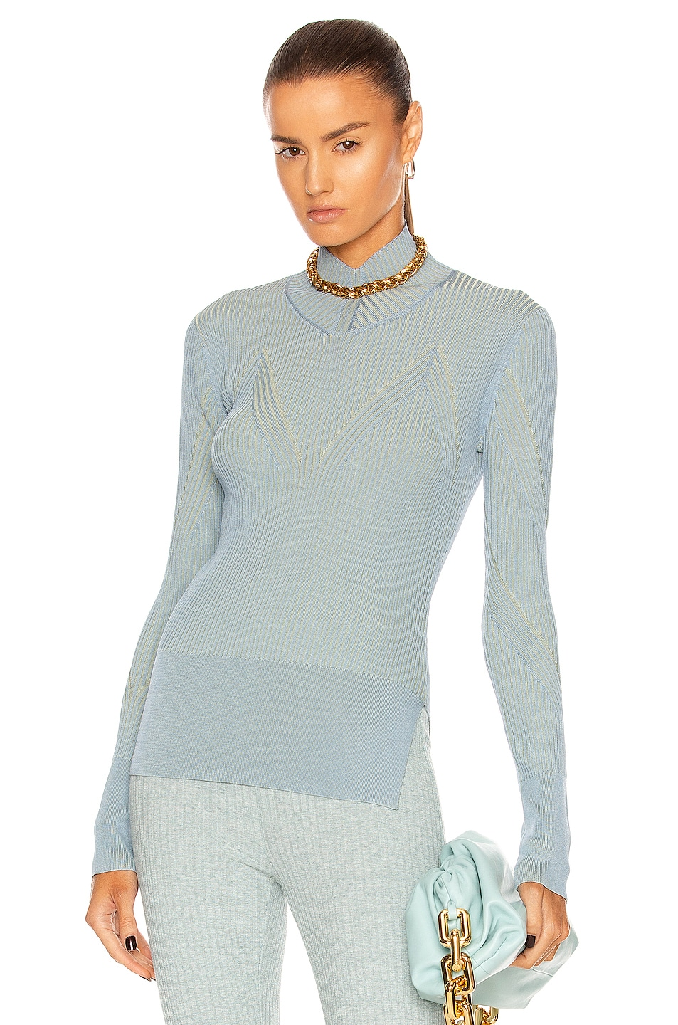 Image 1 of AKNVAS Lennox Sweater in Pool & Mint
