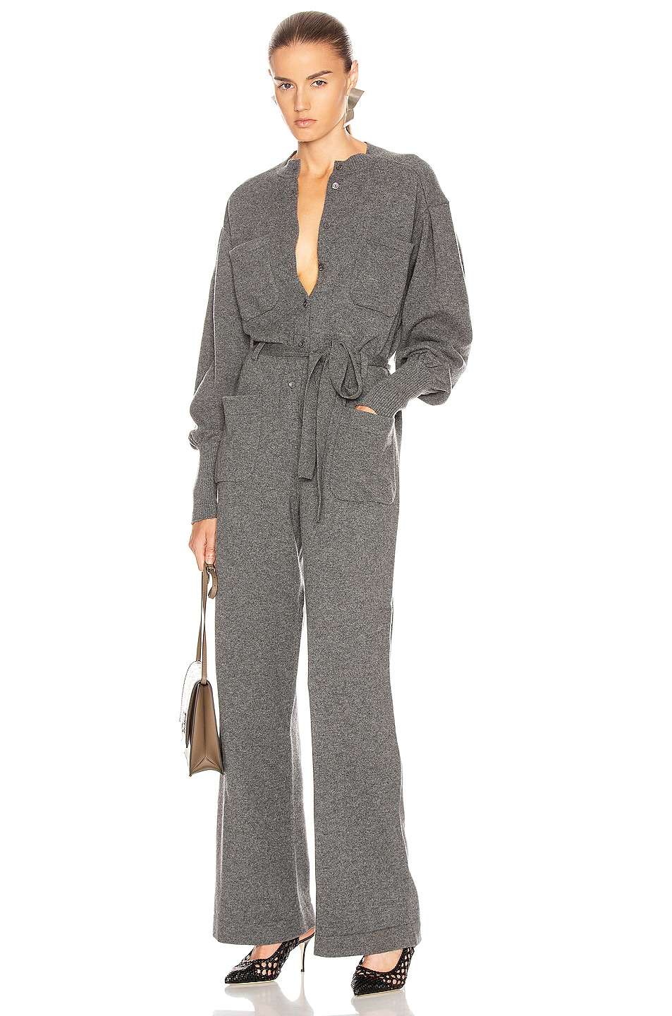 Image 1 of ALBERTA FERRETTI Cashmere Tie Jumpsuit in Grey