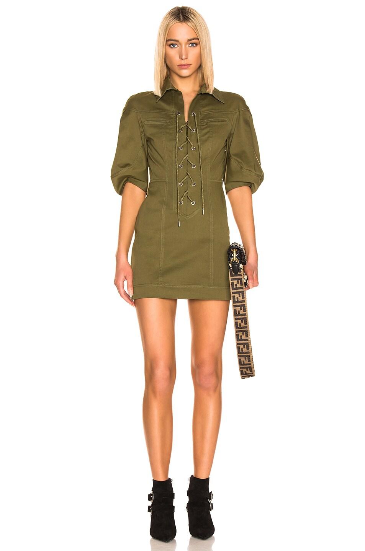 Image 1 of ALBERTA FERRETTI Lace Up Mini Dress in Olive