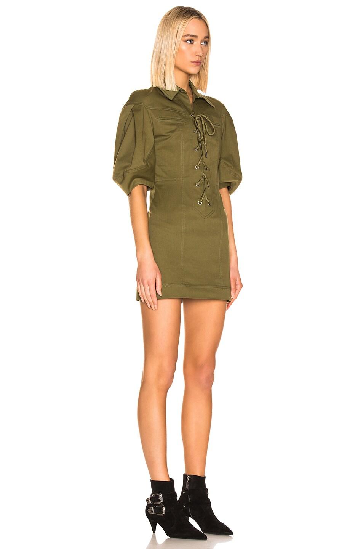 Image 2 of ALBERTA FERRETTI Lace Up Mini Dress in Olive