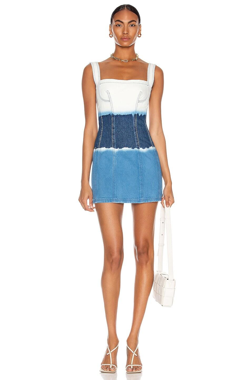 Image 1 of ALBERTA FERRETTI Sleeveless Mini Dress in Fantasy Print Blue