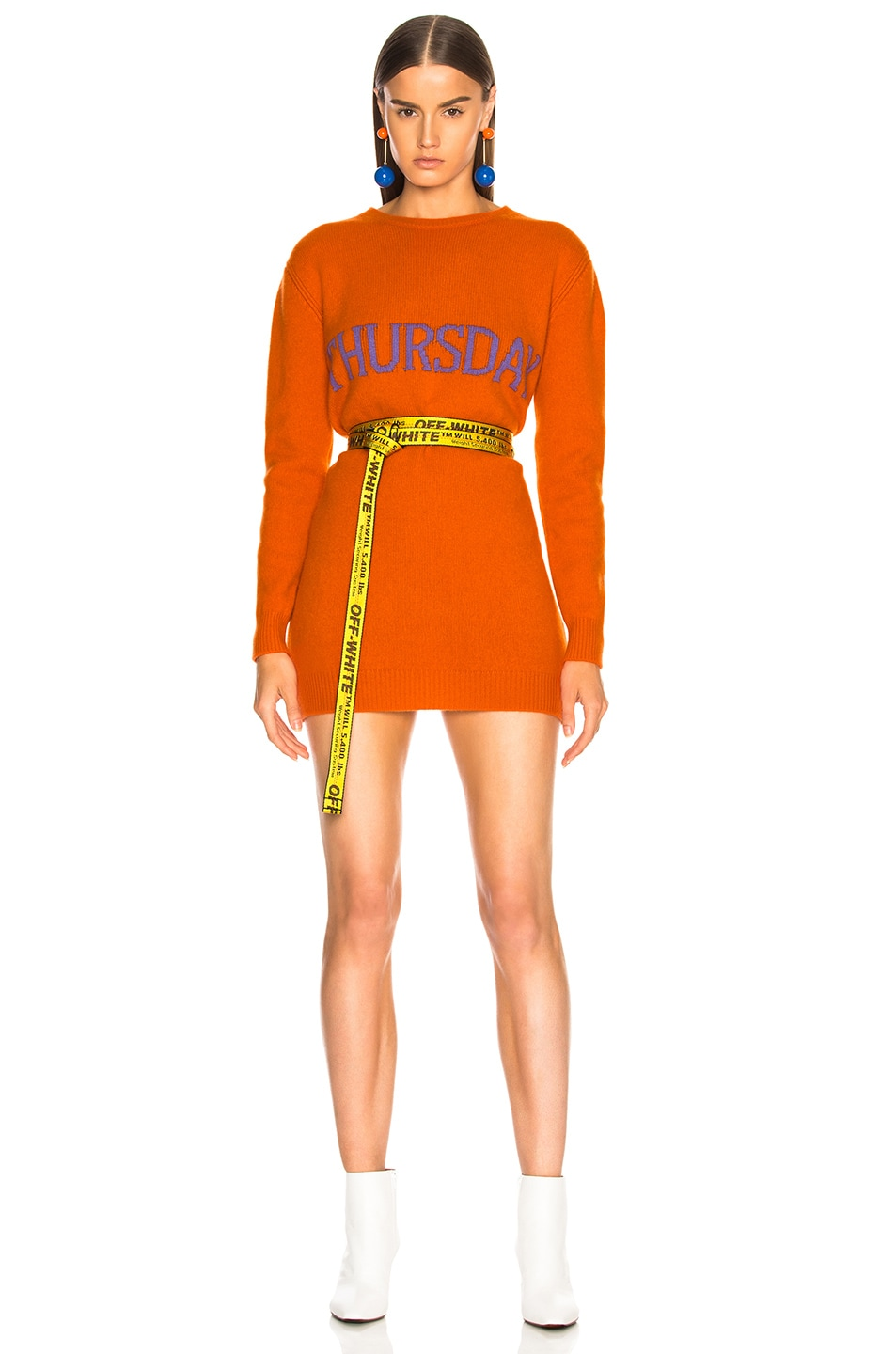 Image 1 of ALBERTA FERRETTI Thursday Crewneck Sweater Dress in Orange & Purple