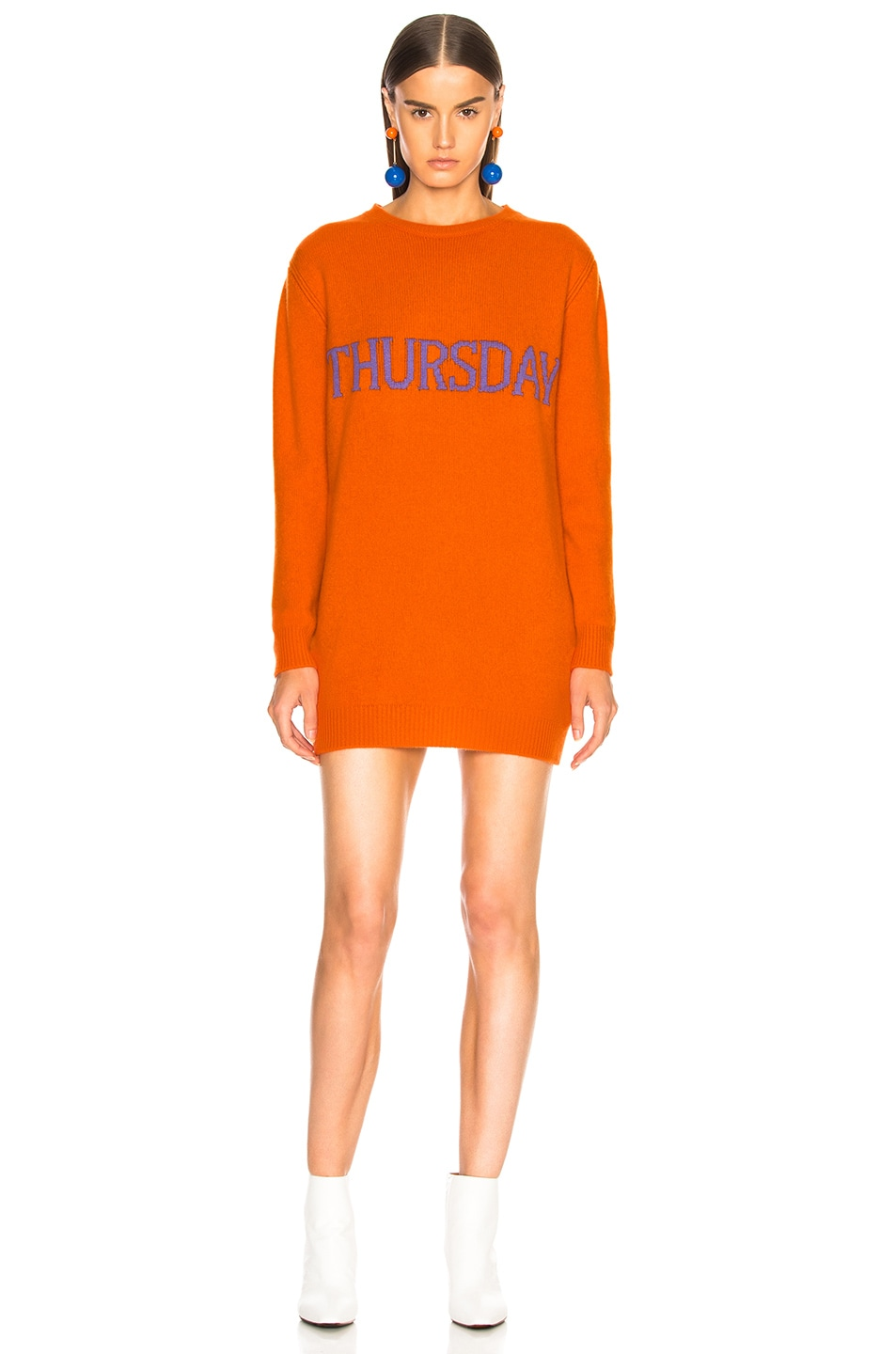 Image 2 of ALBERTA FERRETTI Thursday Crewneck Sweater Dress in Orange & Purple