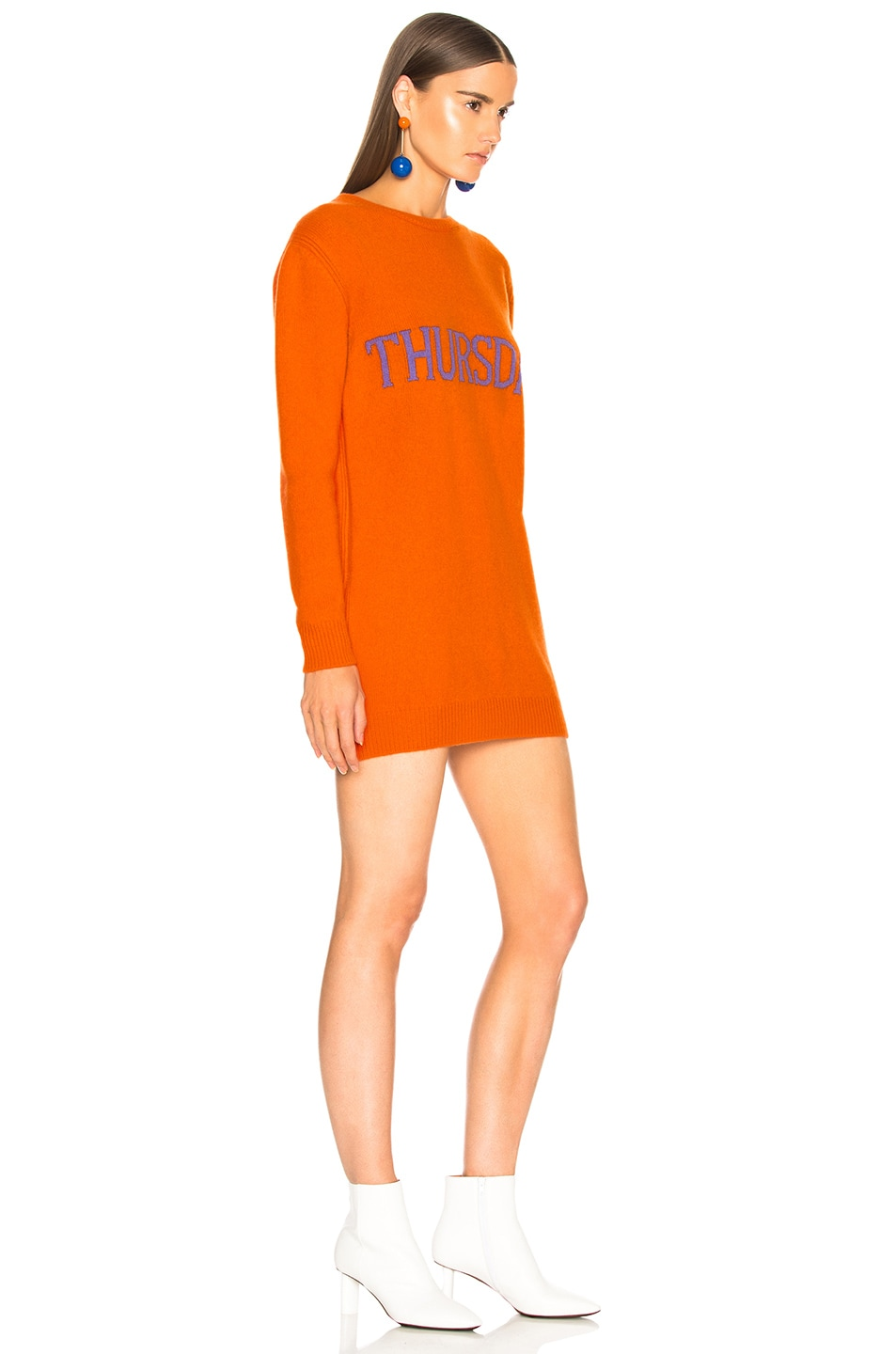 Image 3 of ALBERTA FERRETTI Thursday Crewneck Sweater Dress in Orange & Purple