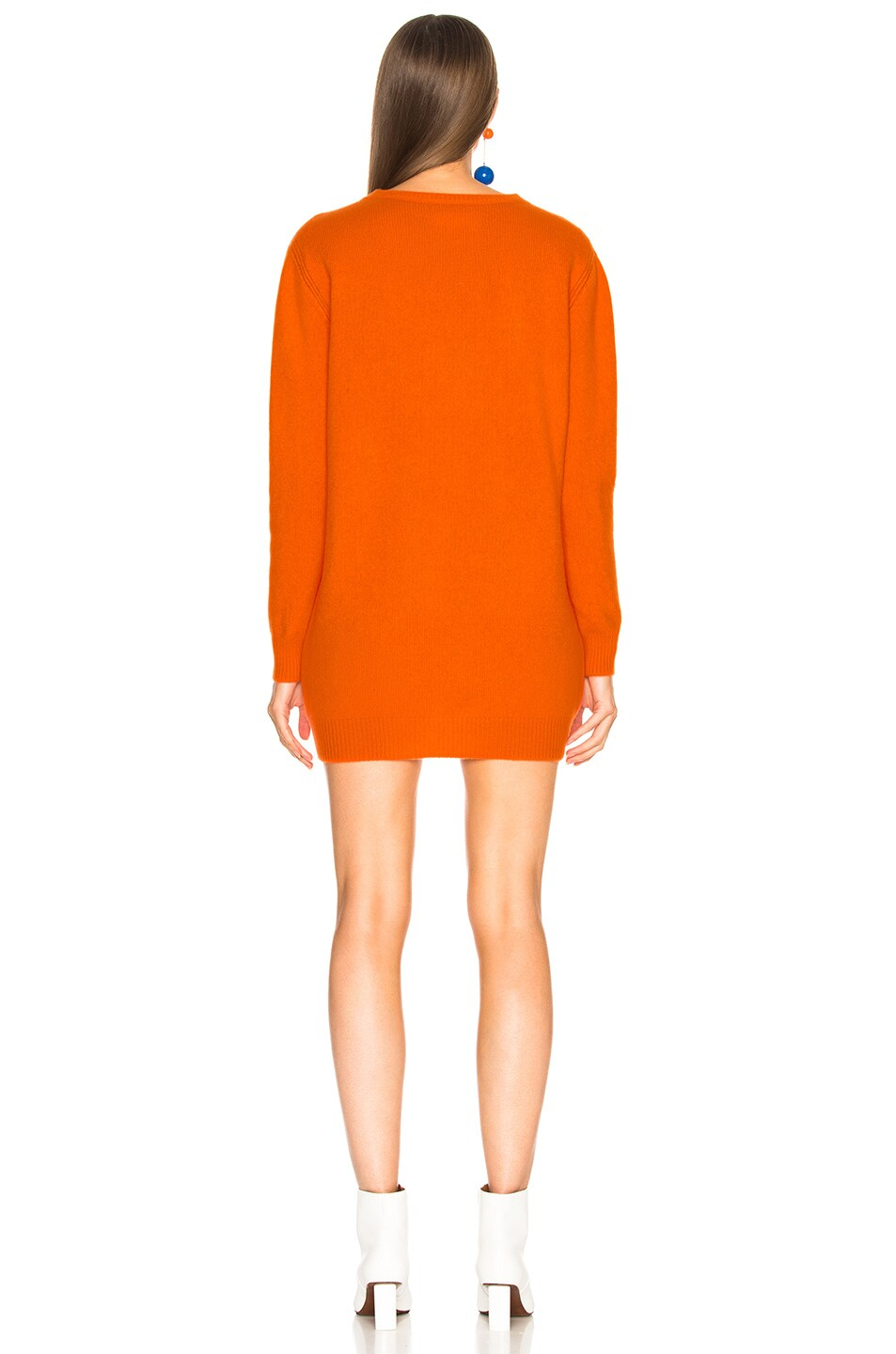 Image 4 of ALBERTA FERRETTI Thursday Crewneck Sweater Dress in Orange & Purple
