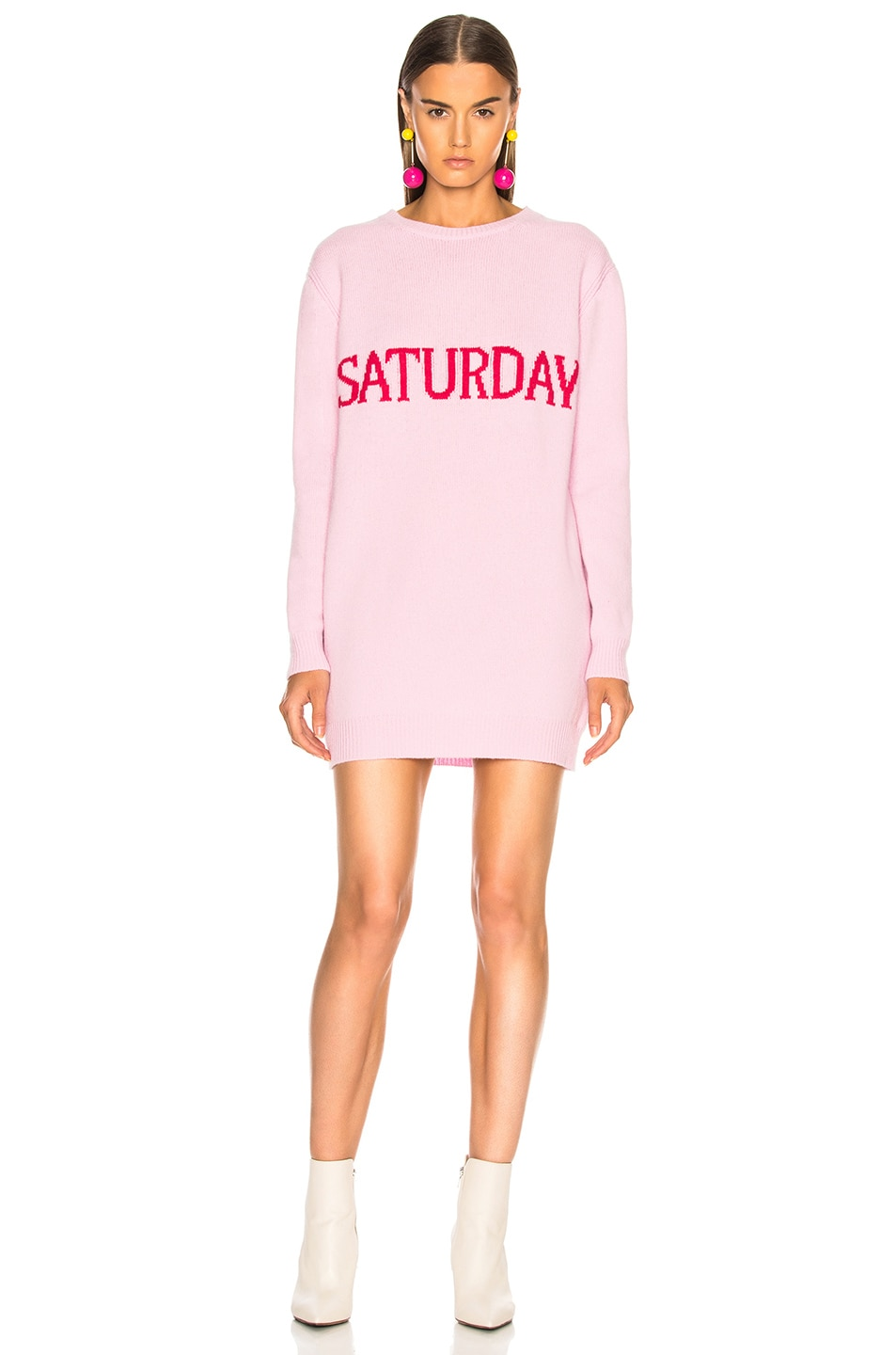Image 2 of ALBERTA FERRETTI Saturday Crewneck Sweater Dress in Light Pink & Pink