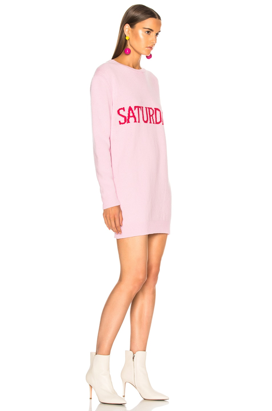 Image 3 of ALBERTA FERRETTI Saturday Crewneck Sweater Dress in Light Pink & Pink