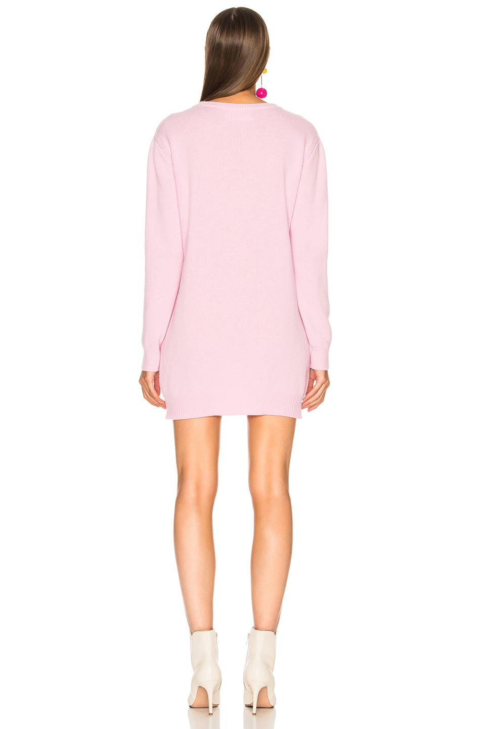 Image 4 of ALBERTA FERRETTI Saturday Crewneck Sweater Dress in Light Pink & Pink