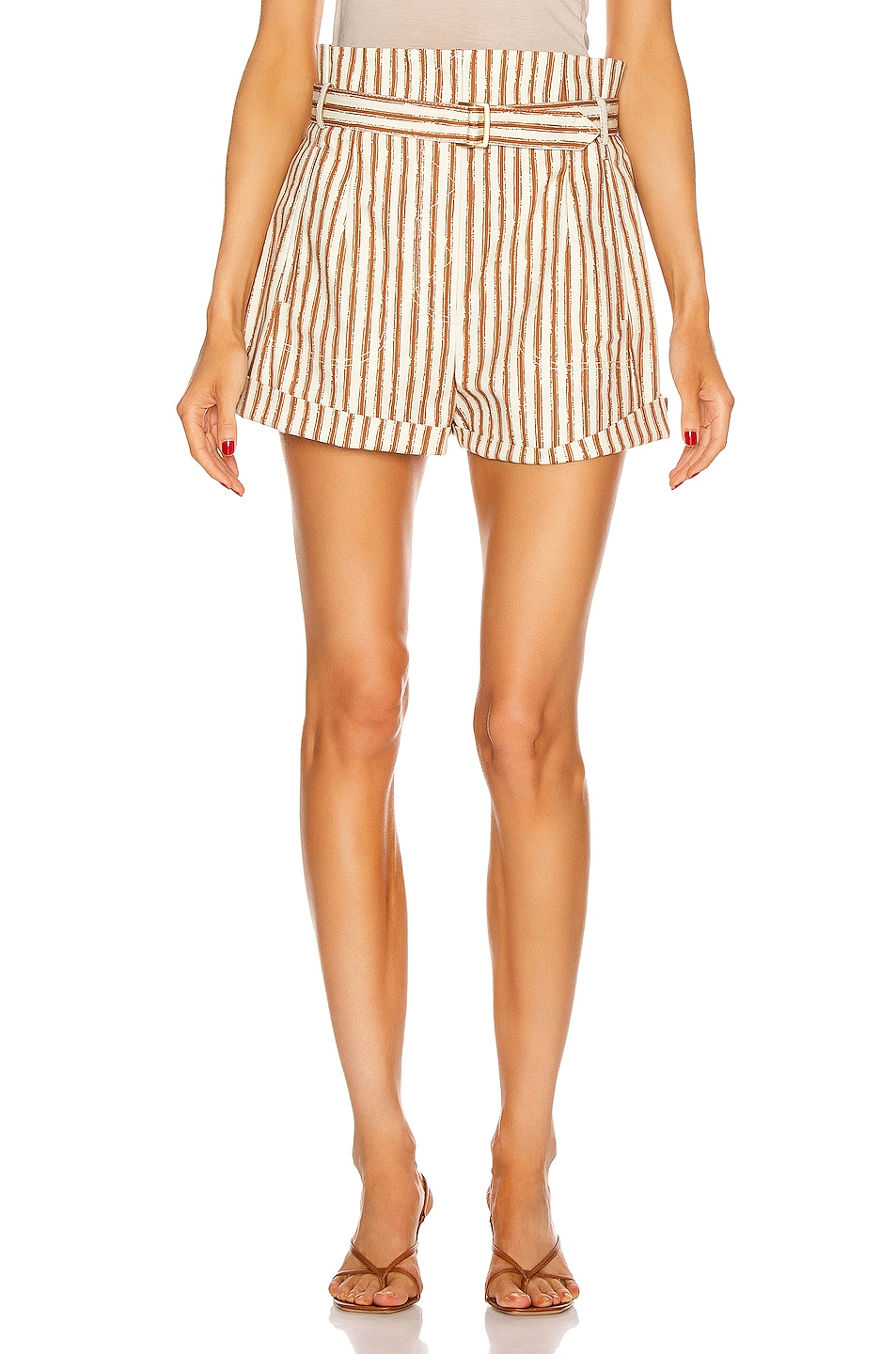 Image 1 of ALBERTA FERRETTI Tailored Stripe Short in Brown & White