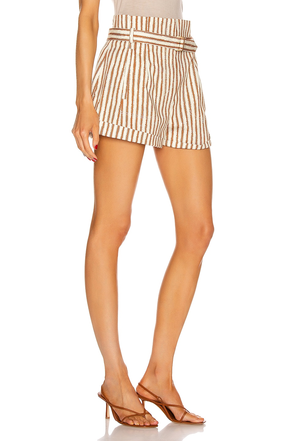 Image 2 of ALBERTA FERRETTI Tailored Stripe Short in Brown & White