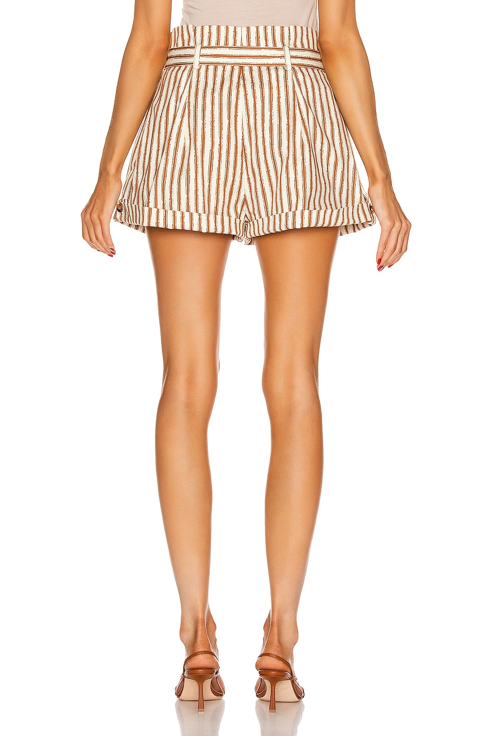 Image 3 of ALBERTA FERRETTI Tailored Stripe Short in Brown & White