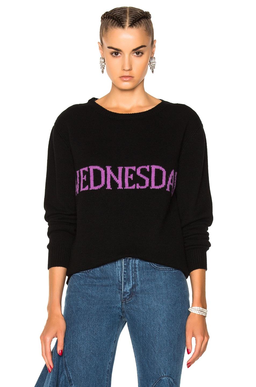 ALBERTA FERRETTI Wednesday Crewneck Sweater in Black & Purple | FWRD