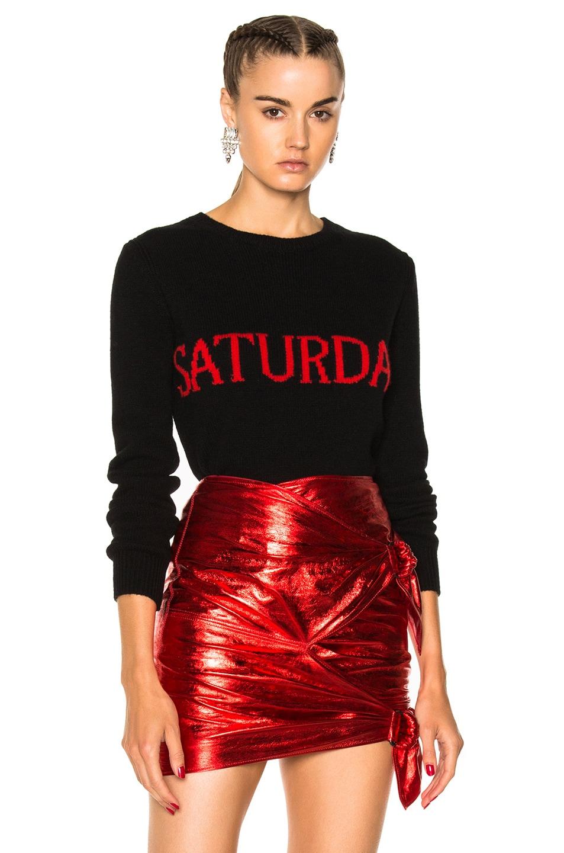 Image 1 of ALBERTA FERRETTI Saturday Crewneck Sweater in Black & Red