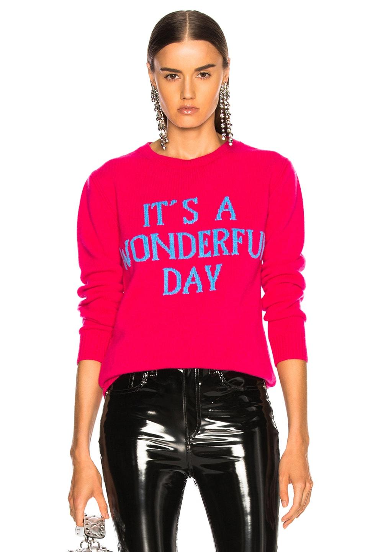 Alberta Ferretti Sweaters ALBERTA FERRETTI IT'S A WONDERFUL DAY CREWNECK SWEATER IN PINK.