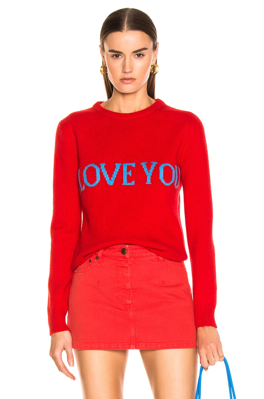 Image 1 of ALBERTA FERRETTI I Love You Sweater in Red