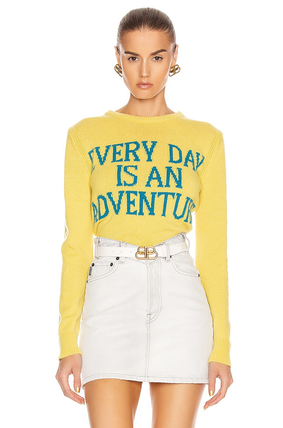 Image 1 of ALBERTA FERRETTI Everyday Is An Adventure Sweater in Yellow & Blue