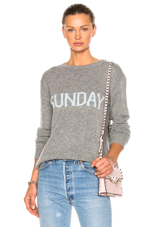 Image 1 of ALBERTA FERRETTI Sunday Crewneck Sweater in Melange Grey & Light Blue