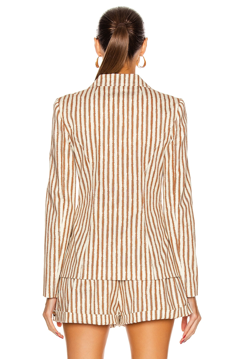 Image 3 of ALBERTA FERRETTI Tailored Stripe Blazer in Brown & White