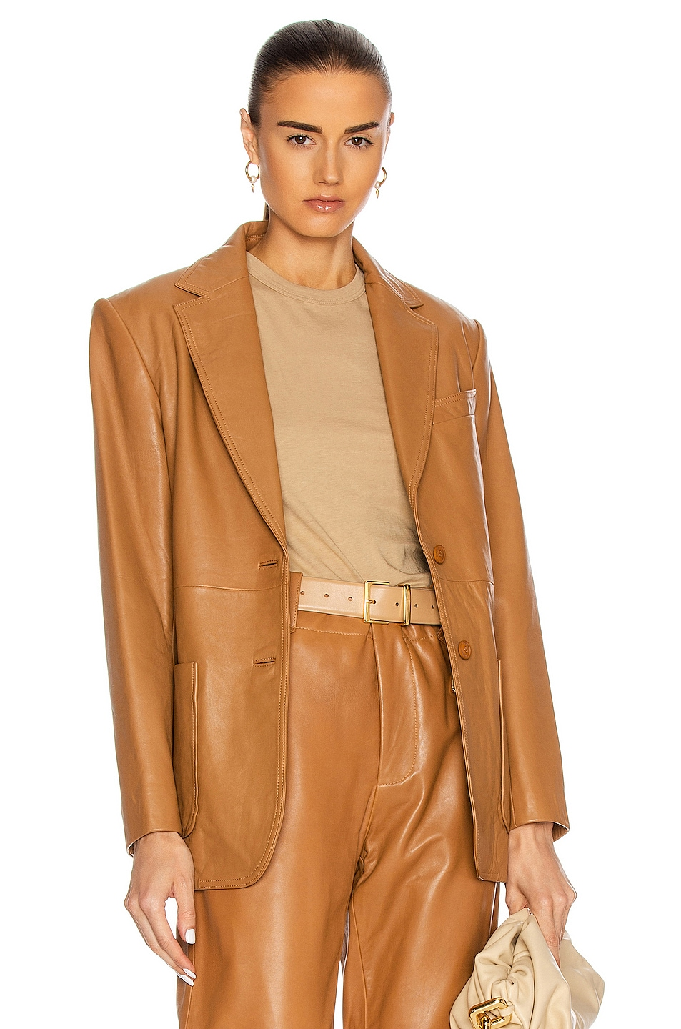 Image 1 of ALBERTA FERRETTI Leather Blazer in Brown