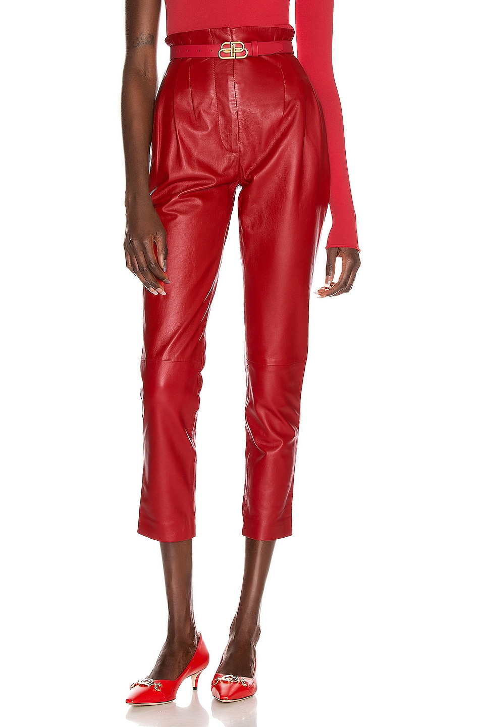 Image 1 of ALBERTA FERRETTI Leather Skinny Pant in Red