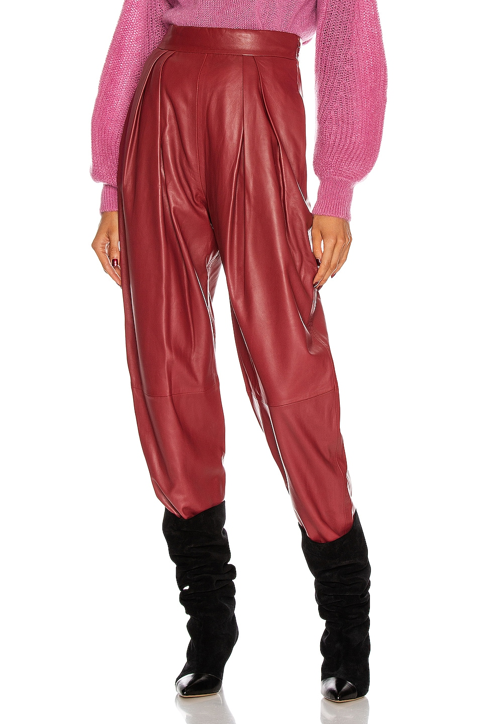 Image 1 of ALBERTA FERRETTI Leather Pant in Red