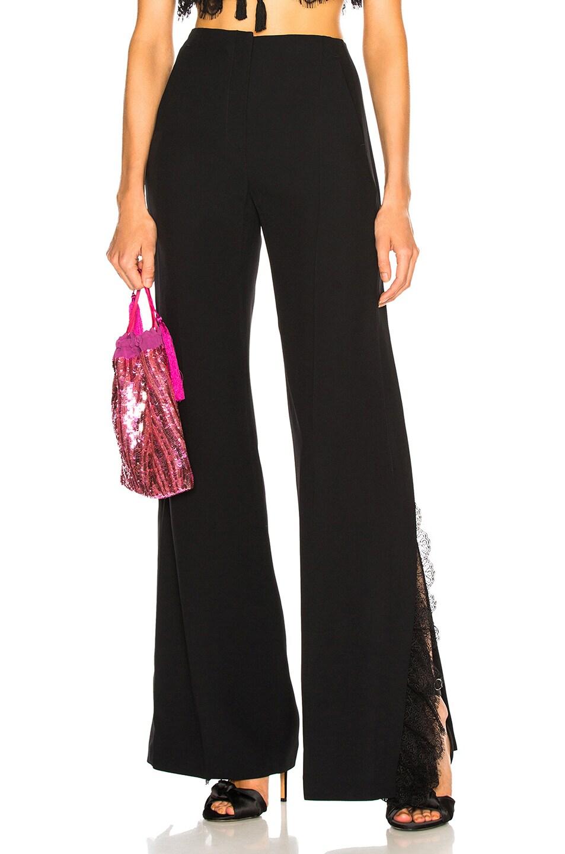 Image 1 of ALBERTA FERRETTI Lace Trim Wide Leg Pants in Black