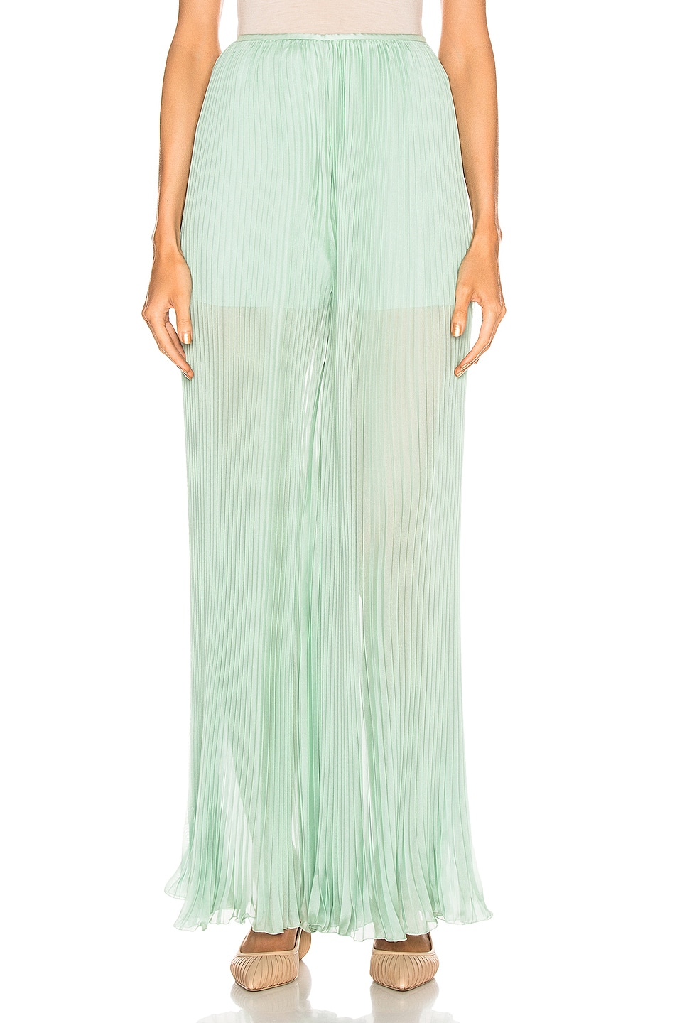 Image 1 of ALBERTA FERRETTI Pleated Pant in Green