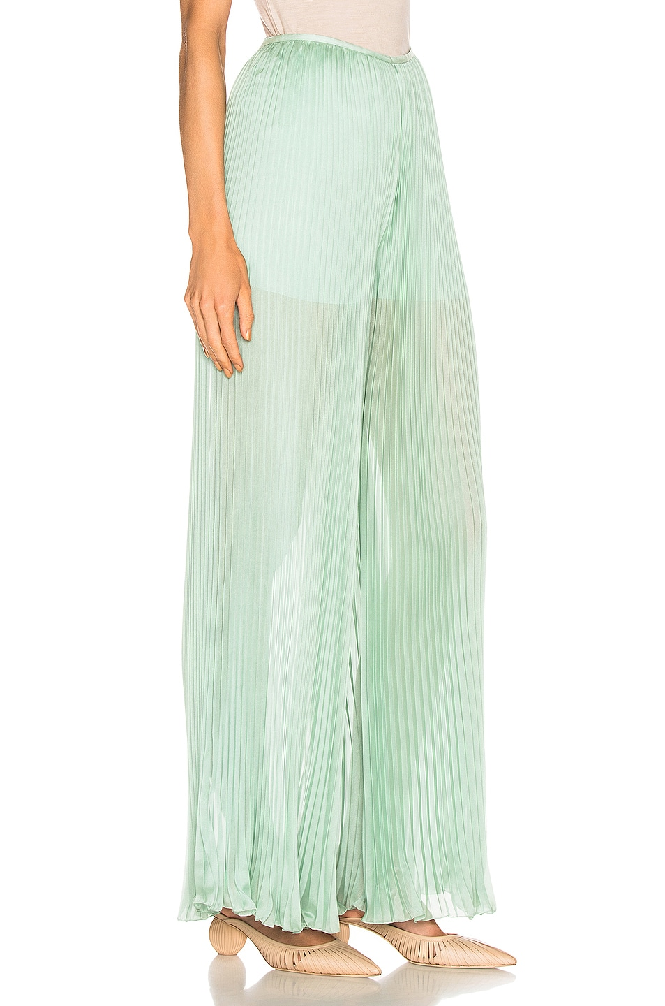 Image 2 of ALBERTA FERRETTI Pleated Pant in Green