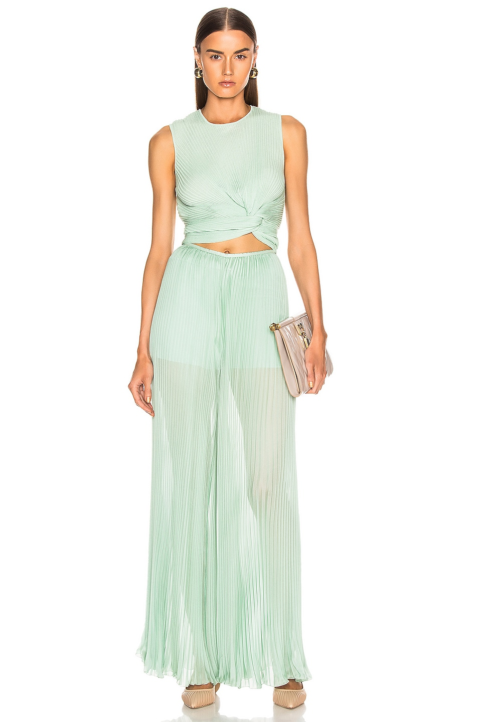 Image 4 of ALBERTA FERRETTI Pleated Pant in Green