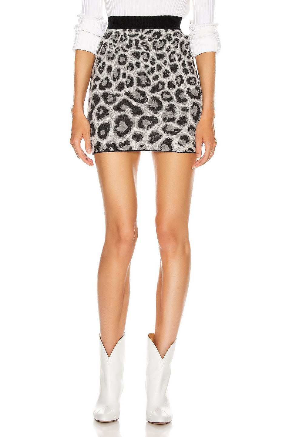 Image 1 of ALBERTA FERRETTI Leopard Mini Skirt in Grey