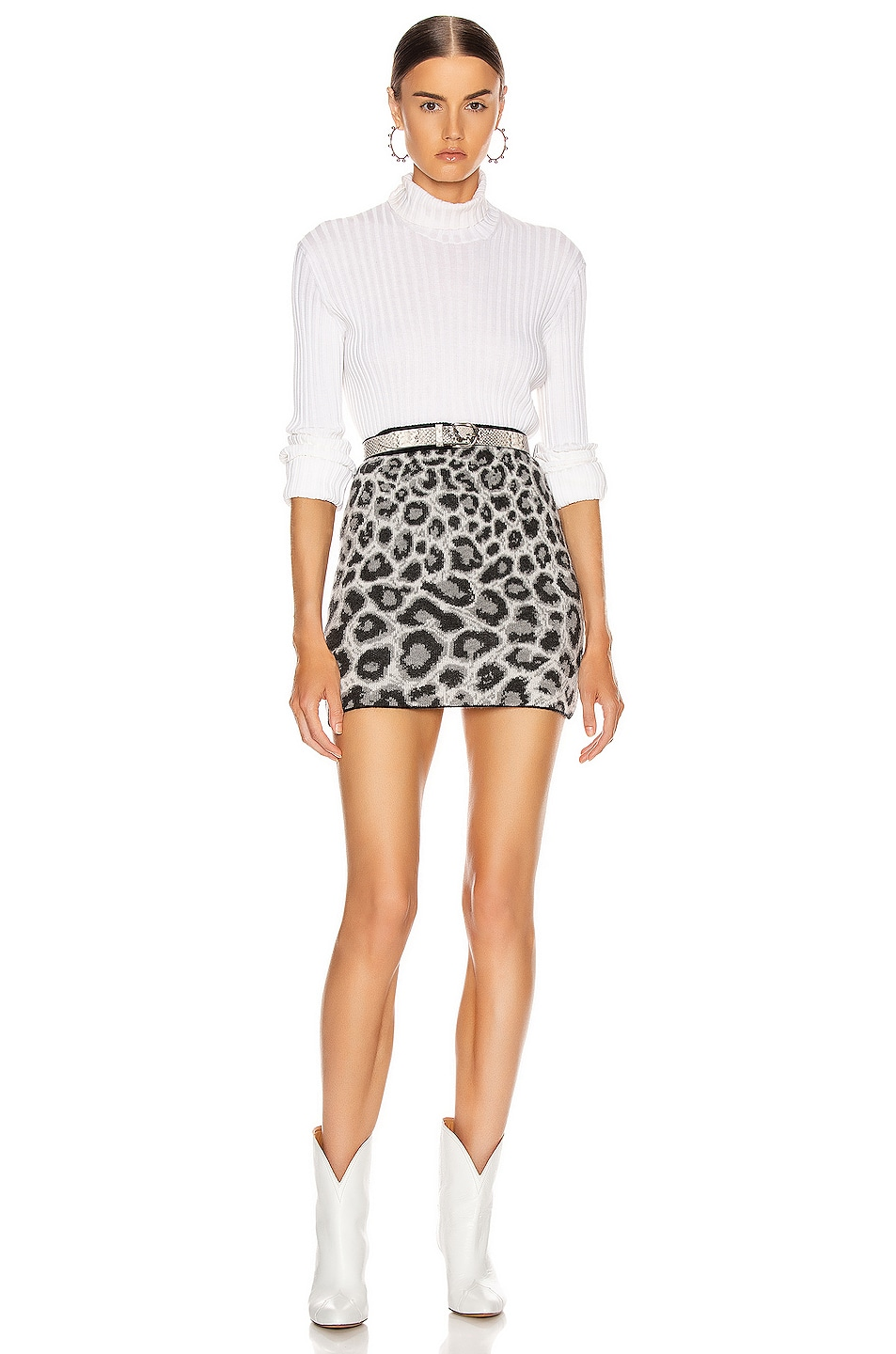 Image 4 of ALBERTA FERRETTI Leopard Mini Skirt in Grey