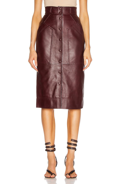 Image 1 of ALBERTA FERRETTI Leather Button Skirt in Brown