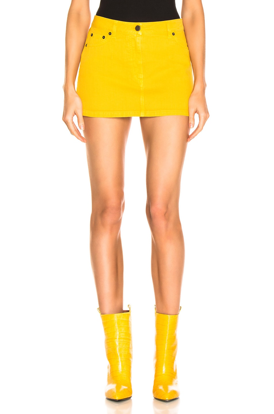 Image 1 of ALBERTA FERRETTI Denim Mini Skirt in Yellow