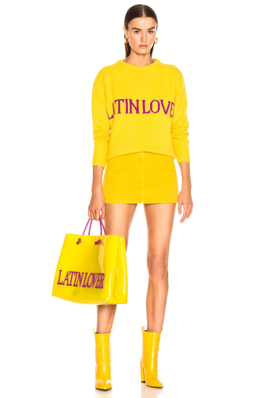 Image 4 of ALBERTA FERRETTI Denim Mini Skirt in Yellow