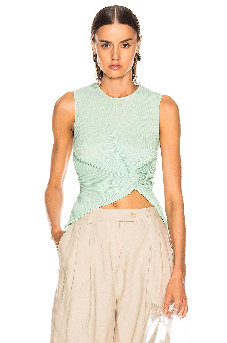 Image 1 of ALBERTA FERRETTI Crop Twist Top in Green