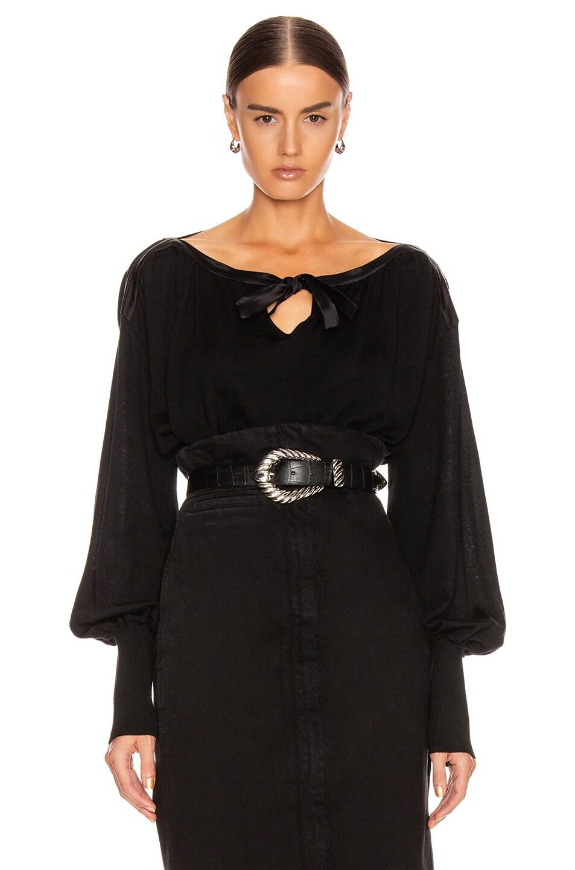 Image 2 of ALBERTA FERRETTI Tie Keyhole Blouse in Black