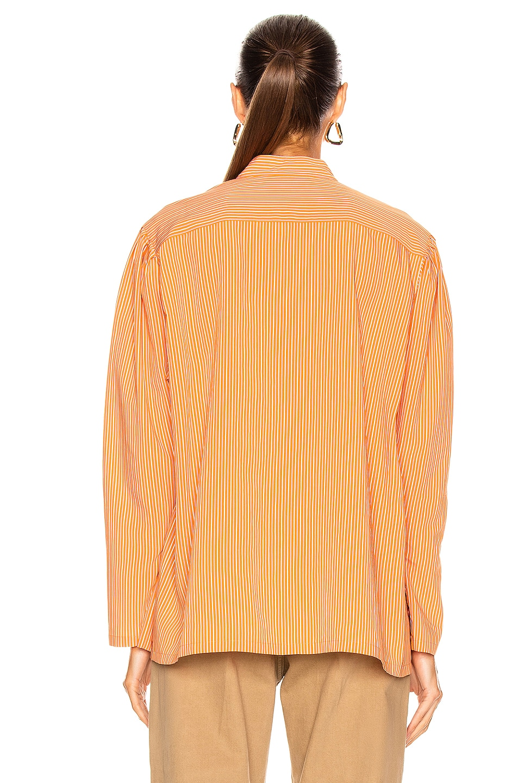 Image 3 of ALBERTA FERRETTI Striped Button Down Top in Orange