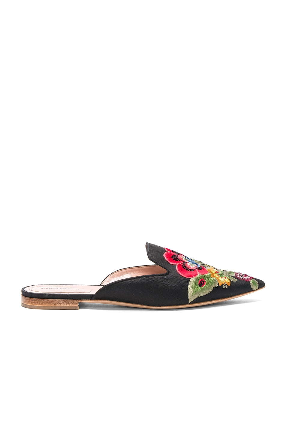 Image 1 of ALBERTA FERRETTI Flower Embroidered Mules in Black