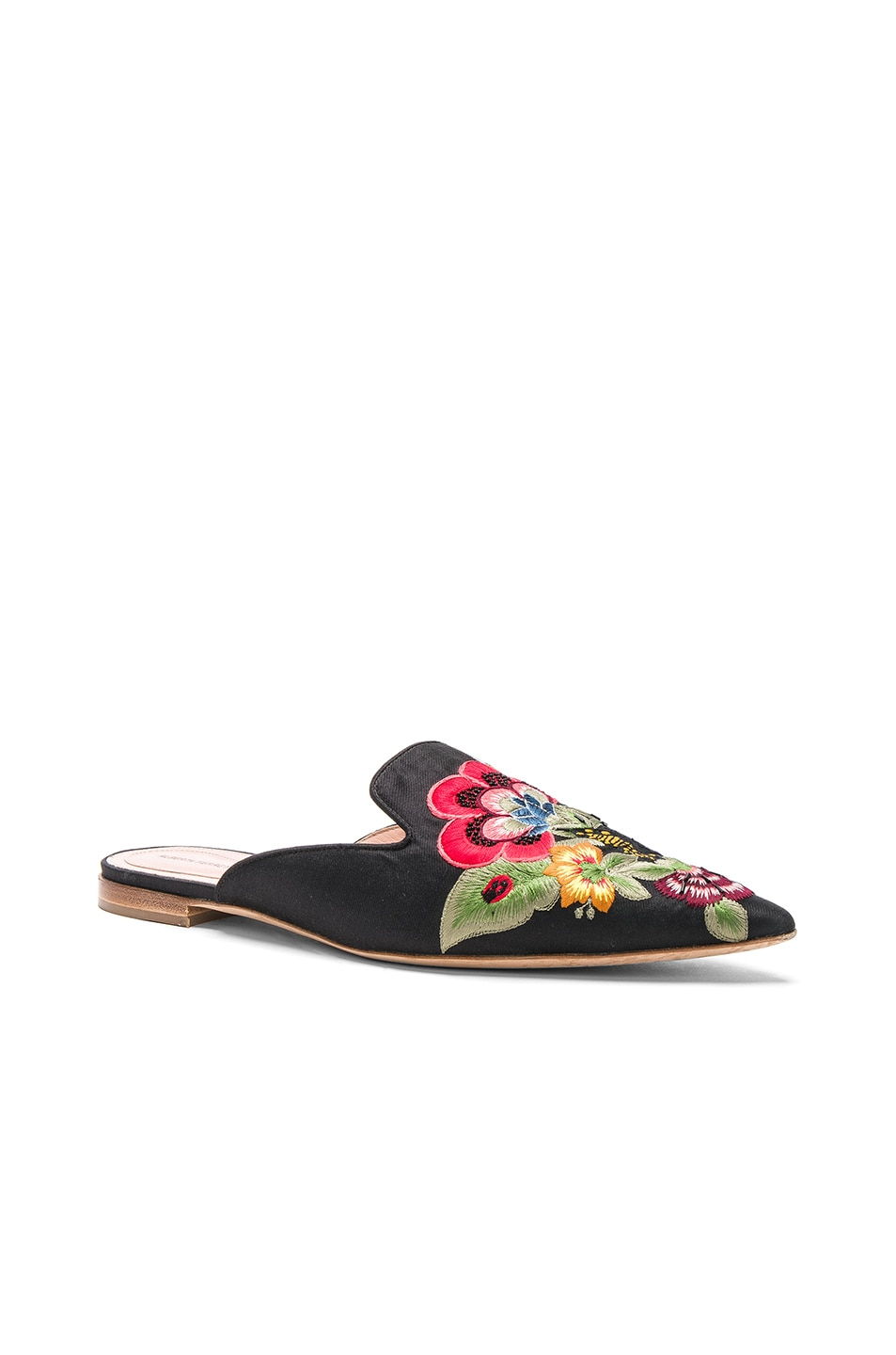 Image 2 of ALBERTA FERRETTI Flower Embroidered Mules in Black