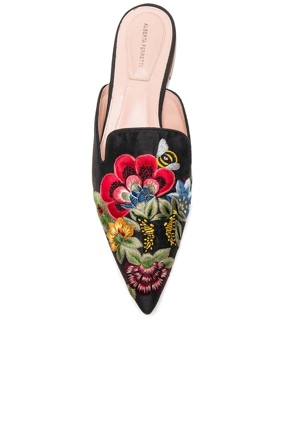 Image 4 of ALBERTA FERRETTI Flower Embroidered Mules in Black
