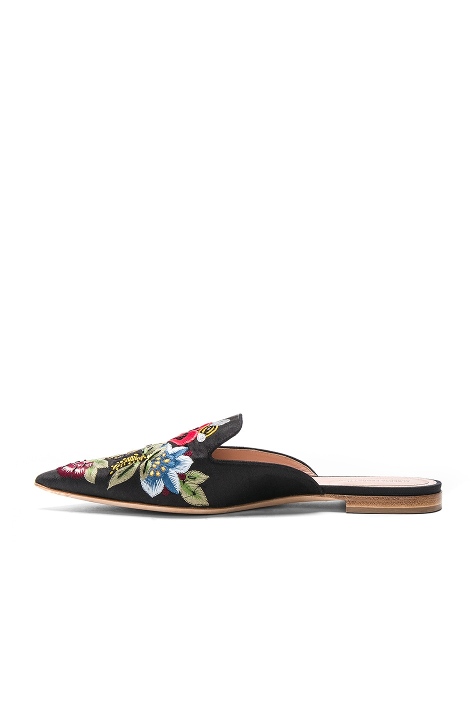 Image 5 of ALBERTA FERRETTI Flower Embroidered Mules in Black