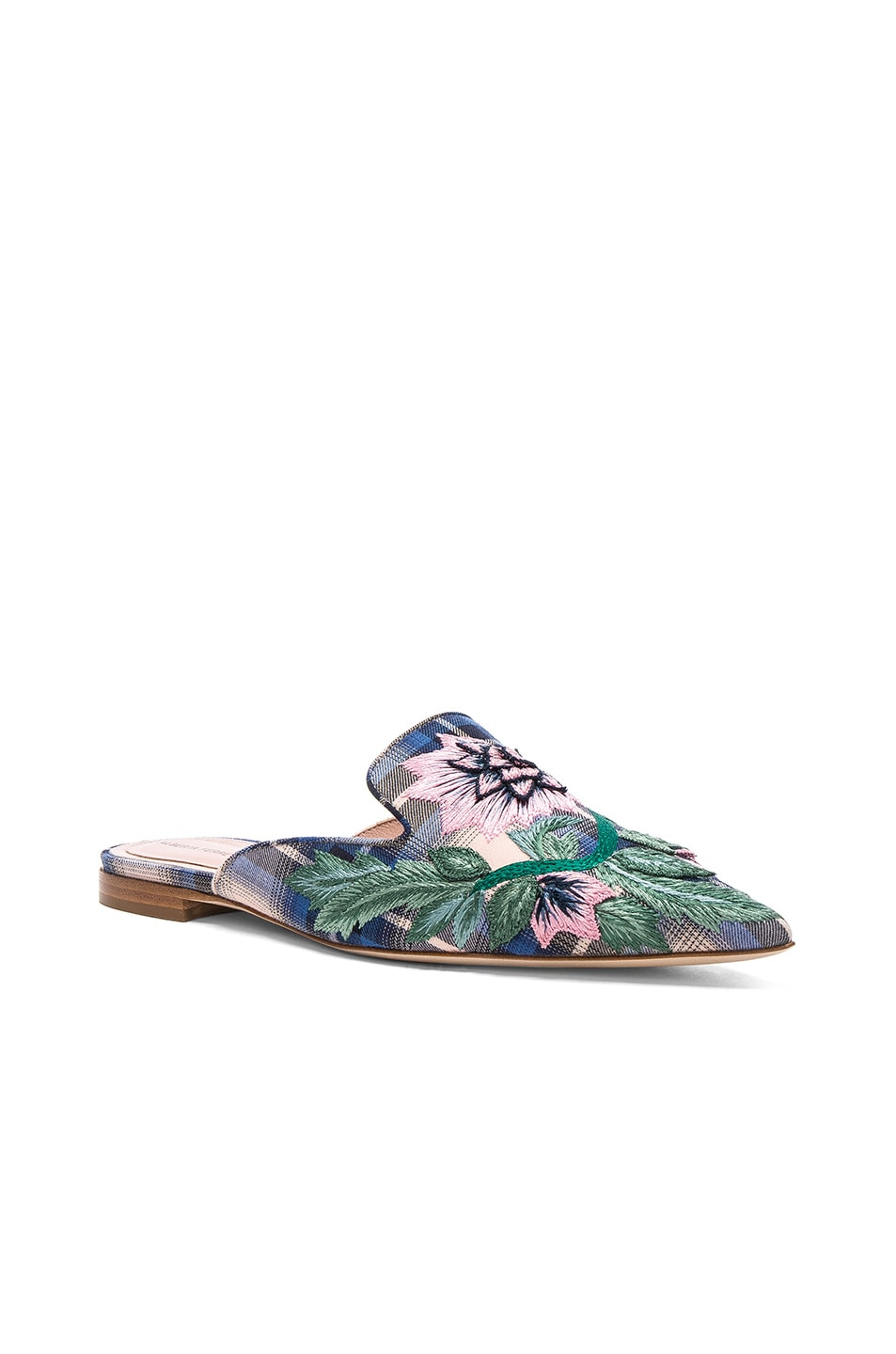 Alberta Ferretti Flower Embroidered Plaid Mules in . zAD74bn