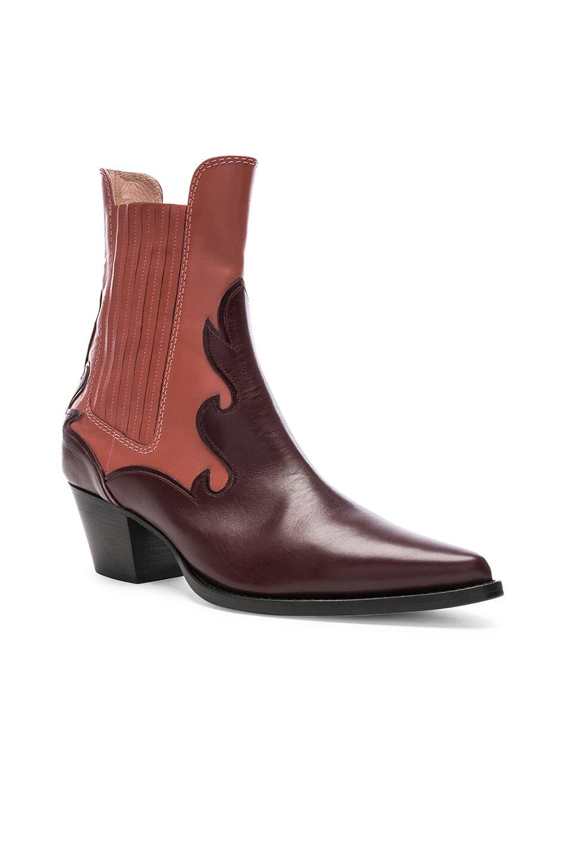 Image 2 of ALBERTA FERRETTI Western Boots in Burgundy & Pink