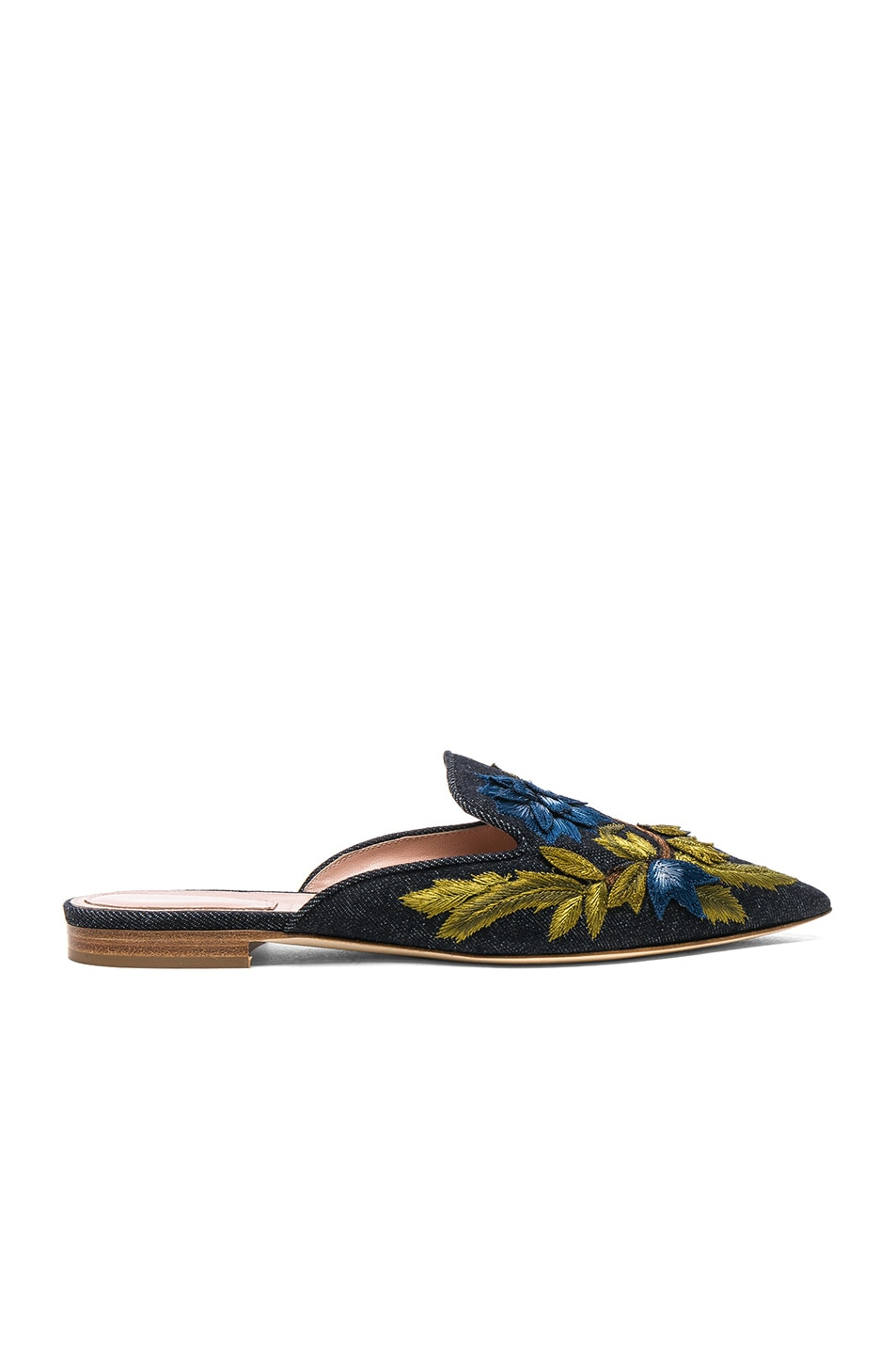 Image 1 of ALBERTA FERRETTI Denim Beaded Mules in Dark Blue