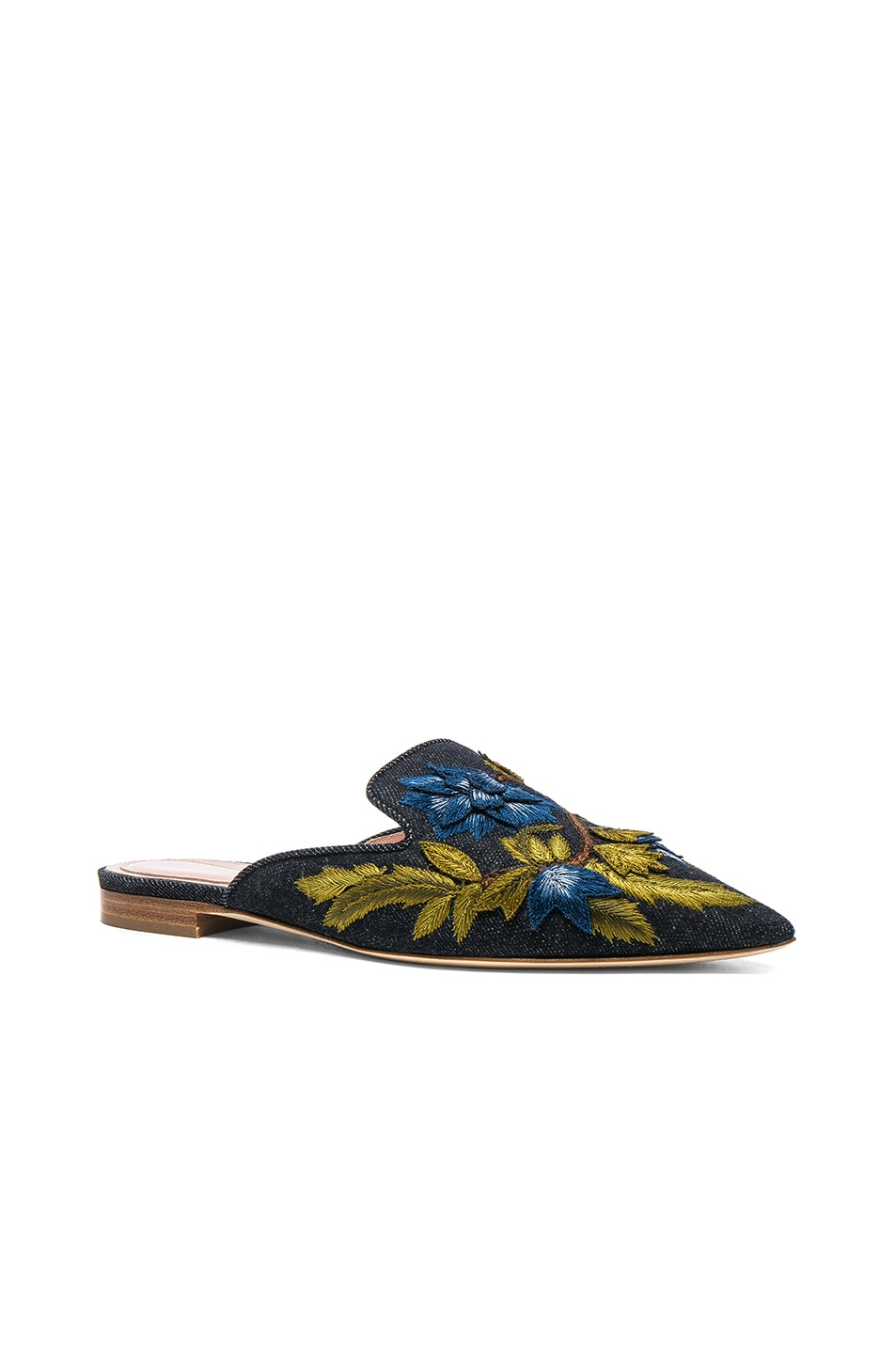 Image 2 of ALBERTA FERRETTI Denim Beaded Mules in Dark Blue
