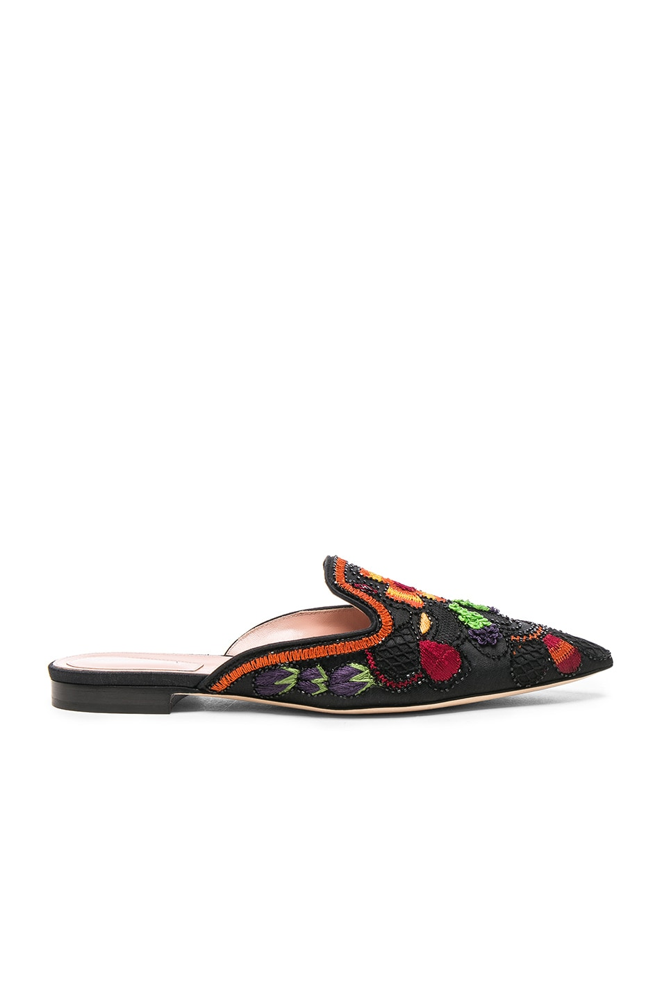 Image 1 of ALBERTA FERRETTI Beaded Shantung Mules in Black