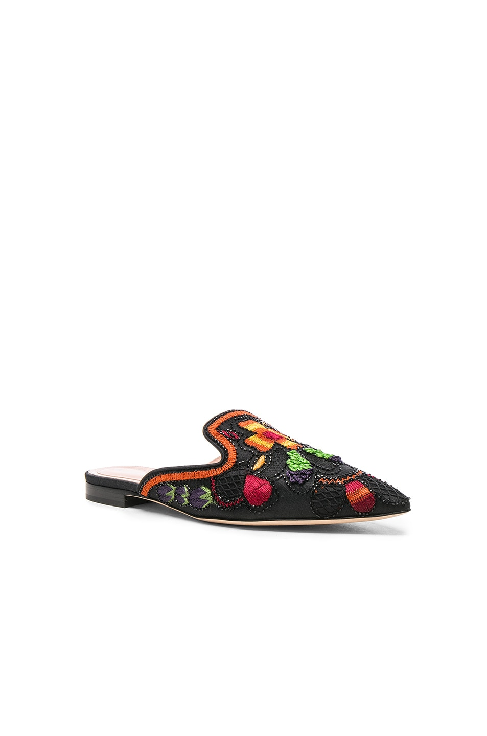 Image 2 of ALBERTA FERRETTI Beaded Shantung Mules in Black
