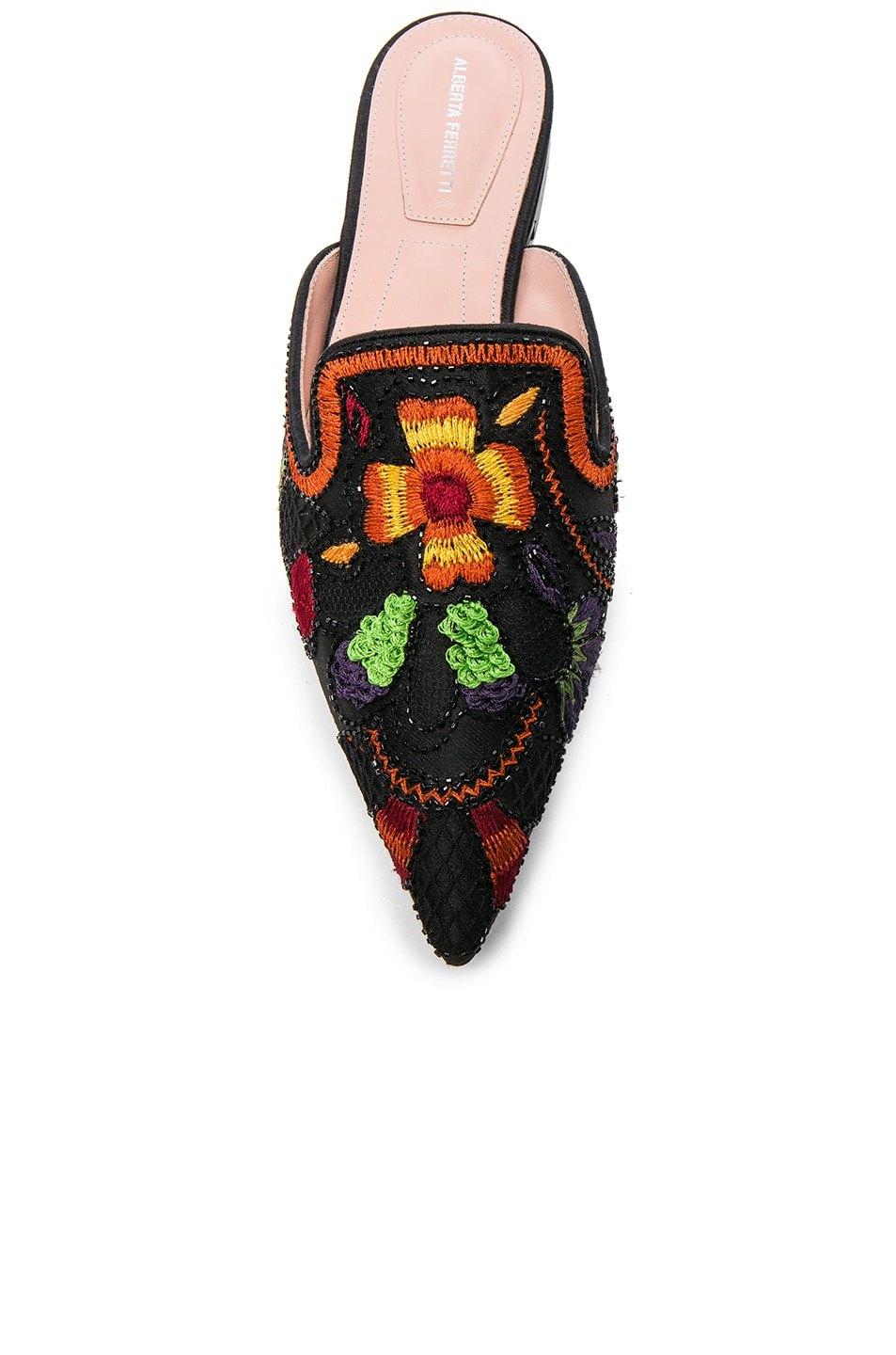 Image 4 of ALBERTA FERRETTI Beaded Shantung Mules in Black